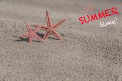 De zomermalplaatje met zeesterren op een zandig strand Stock Afbeelding