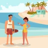 De zomermeisje en wachtmens vector illustratie