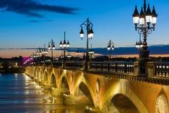De zomernacht in Bordeaux Stock Foto