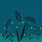 De zomernacht. Elegante bloemenachtergrond met glimwormen. Stock Foto