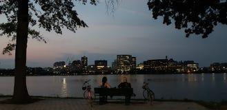De zomernachten in Boston royalty-vrije stock afbeeldingen