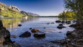 De zomerochtend op Jenny Lake Stock Foto's