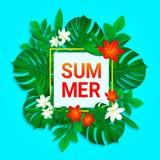 De zomerontwerp Tropische Bloemen en Bladerenachtergrond De vector Exotische wildernis plant kaart Verse aardachtergrond in a vector illustratie
