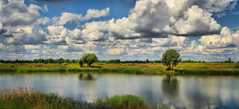 De zomerpanorama met rivier Royalty-vrije Stock Afbeeldingen