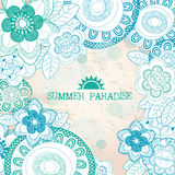 De zomerparadijs met bloemen Royalty-vrije Stock Afbeelding