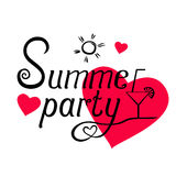 De zomerpartij het van letters voorzien op achtergrond met roze harten vector illustratie