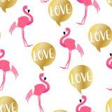 De zomerpatroon met leuke flamingo en gouden tekstwolk op witte achtergrond Ornament voor textiel en het verpakken royalty-vrije illustratie