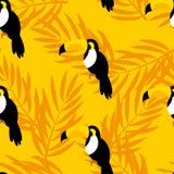 De zomerpatroon met toekan en palmtakken voor textiel en het verpakken Vector naadloze achtergrond vector illustratie