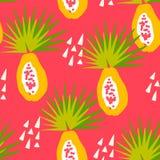 De zomerpatroon met tropisch fruit en driehoeken op rode achtergrond Ornament voor textiel en het verpakken vector illustratie