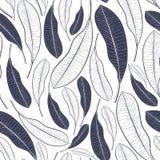 In de zomerpatroon met tropische bladeren Grafische bladeren van mangofruit dat op witte achtergrond wordt geïsoleerd Vectorillus Royalty-vrije Stock Afbeelding