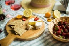 De zomerpicknick in aard, fruit, bessen, kaas stock afbeelding