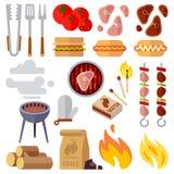 De zomerpicknick, barbecue en de geroosterde vectorpictogrammen van het voedsellapje vlees Royalty-vrije Stock Foto