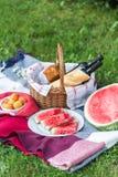 De zomerpicknick met Stokbrood, wijn en watermeloen Stock Afbeeldingen
