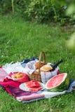De zomerpicknick met Stokbrood, wijn en watermeloen Stock Fotografie