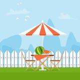 De zomerpicknick op de binnenplaats Stock Foto