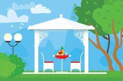 De zomerpicknick op de tuin Openlucht recreatie Lijst met stoelen, as en ananas Diner met fruit stock illustratie