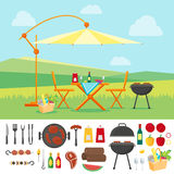 De zomerpicknick in Vlakke Aard Vector royalty-vrije illustratie