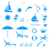 De zomerpictogrammen Stock Foto's