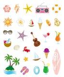De zomerpictogrammen Royalty-vrije Stock Afbeeldingen