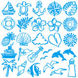 De zomerpictogrammen de illustraties van de borstelslag Royalty-vrije Stock Afbeeldingen