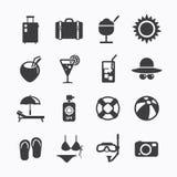 De zomerpictogrammen Geplaatst ontwerp. Pictogrammen voor Webontwerp en infographic. Ve Stock Foto