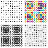 100 de zomerpictogrammen geplaatst vectorvariant Stock Afbeeldingen
