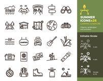 De zomerpictogrammen, het Kamperen en Aard Voorwerpen, landschappen en activiteiten Vector dunne lijnillustratie Gemakkelijk edit vector illustratie