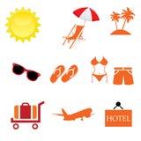 De zomerpictogrammen met Witte vectorillustrator Als achtergrond Stock Afbeelding
