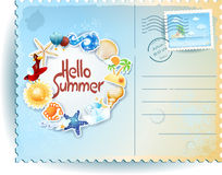 De zomerprentbriefkaar met kleurrijk pictogrammen en bericht Royalty-vrije Stock Foto