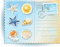 De zomerprentbriefkaar met pictogrammen Royalty-vrije Stock Afbeeldingen