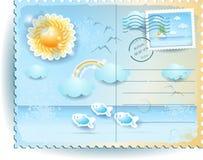 De zomerprentbriefkaar met zon en overzees, in uitstekende stijl Stock Fotografie