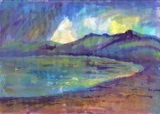 De zomerregen op het meer Landschap met rivier en bos stock illustratie