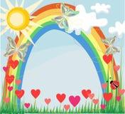 De zomerregenboog en vlinders Stock Fotografie