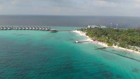De zomerreis, Hoogste mening over toevluchteiland met kokospalmen voor rust en ontspanning van toeristen in water en houten stock video