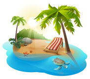 De zomerrust Chaise zitkamer onder palm op tropisch eiland vector illustratie
