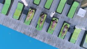 De zomerrust, gelukkige sexy meisjes in badpak het ontspannen op zitkamers dichtbij zwembad in dure toevlucht tijdens stock footage