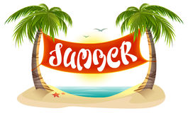 De zomerrust Tropische palmen, overzees, strand Banner van de de zomer de van letters voorziende tekst Stock Fotografie