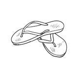 De zomerschoeisel de wipschakelaars van het krabbelbeeldverhaal op wit worden geïsoleerd dat Stock Afbeeldingen