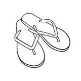 De zomerschoeisel de wipschakelaars van het krabbelbeeldverhaal op wit worden geïsoleerd dat Royalty-vrije Stock Fotografie