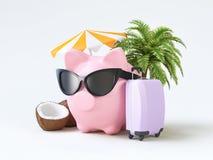 De zomerspaarvarken met bagage en zonnebril royalty-vrije illustratie