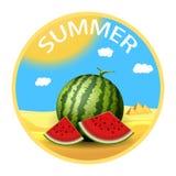 De zomersticker Realistische watermeloen met plakken reis concept Royalty-vrije Stock Fotografie