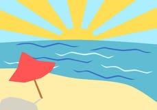 De zomerstrand - achtergrond vector illustratie
