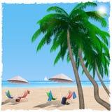 De zomerstrand door het overzees, oceaan Royalty-vrije Stock Afbeelding