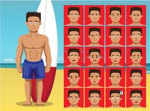 De zomerstrand het Surfen van de Emotiegezichten van het Mensenbeeldverhaal de Vectorillustratie stock illustratie