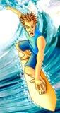 De zomerstrand van Surfer Stock Foto