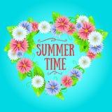 De zomerteken met kader van bloemen vector illustratie