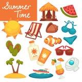 De de zomertijd heeft vakantie en van het vakantiestrand toevlucht bezwaar stock illustratie