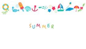 De zomertijd met de kleurrijke vector van het de zomerpictogram Royalty-vrije Stock Afbeeldingen