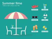De zomertijd! Neem een rust en geniet van uw leven! Stock Illustratie