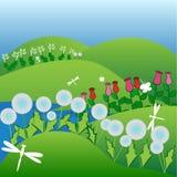 De zomertijd op een bloemgebied royalty-vrije illustratie